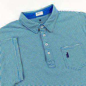 Johnnie-O Large L Polo Shirt Striped Green Blue